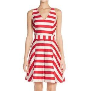 Adelyn Rae Red Stripe Cross Back Fit & Flare Dress